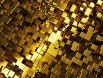 Fondo de oro abstracto de los cubos Foto de archivo