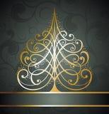 Fondo de oro abstracto del árbol de navidad Imagen de archivo