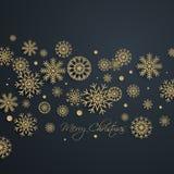 Fondo de oro abstracto de la Feliz Navidad con los copos de nieve libre illustration