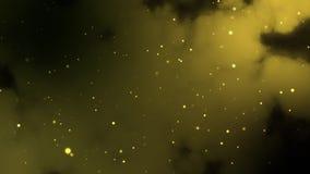 Fondo de oro abstracto de la partícula con la profundidad del campo baja en el top y la parte inferior de la pantalla Cámara lent almacen de metraje de vídeo