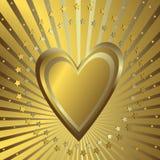 Fondo de oro con el corazón stock de ilustración