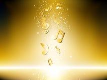 Fondo de oro con las notas de la música Foto de archivo libre de regalías