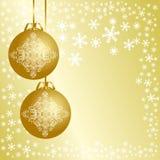 Fondo de oro de la Navidad con las bolas de la Navidad. Imágenes de archivo libres de regalías