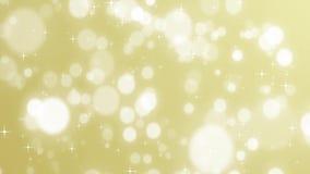 Fondo de oro de la Navidad con las estrellas y Navidad descendente del día de fiesta del oro del bokeh ilustración del vector