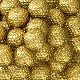 Fondo de oro de las pelotas de golf Imagen de archivo