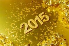 Fondo de oro del Año Nuevo 2015 Imágenes de archivo libres de regalías