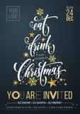 Fondo de oro del Año Nuevo del copo de nieve de la decoración del feliz de la fiesta de Navidad del cartel vector de la bandera libre illustration