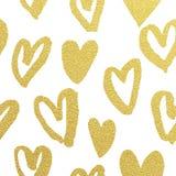 Fondo de oro del blanco del día de San Valentín del brillo del modelo de los corazones Imagen de archivo