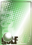 Fondo de oro del cartel del golf Fotos de archivo libres de regalías