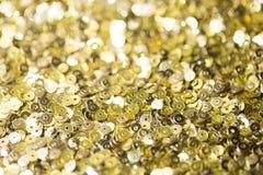 Fondo de oro del confeti Imágenes de archivo libres de regalías