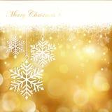 Fondo de oro del copo de nieve de la Navidad Fotos de archivo libres de regalías