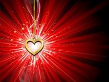 Fondo de oro del corazón Foto de archivo libre de regalías
