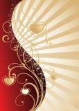 Fondo de oro del día de tarjeta del día de San Valentín ilustración del vector