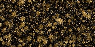 Fondo de oro del modelo del copo de nieve que cae de la textura de la capa de las nevadas del oro aislado en fondo transparente G libre illustration