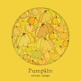 Fondo de oro del otoño con el modelo de la calabaza del diseño del círculo Lugar del texto Fotos de archivo libres de regalías