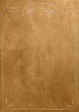 Fondo de oro del papel en blanco de la textura con la frontera retra Imagenes de archivo
