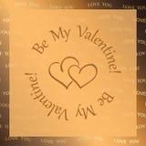 Fondo de oro del vector con los corazones - sea mi tarjeta del día de San Valentín Fotos de archivo
