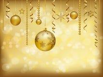 Fondo de oro elegante de la Navidad con las chucherías y la decoración de la Navidad ilustración del vector