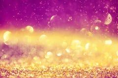 Fondo de oro y rosado de lujo del bokeh La Navidad mágica Foto de archivo libre de regalías
