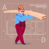 Fondo de Over Abstract Plan del uniforme de Holding Planks Wearing del constructor de la historieta y del trabajador de construcc Foto de archivo