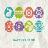 Fondo de papel con los huevos de Pascua del color
