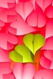 Fondo de papel de los corazones - color de rosa y verde Imagen de archivo libre de regalías