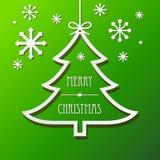 Fondo de papel del árbol de navidad y de los copos de nieve Imagen de archivo libre de regalías
