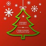 Fondo de papel del árbol de navidad y de los copos de nieve Fotografía de archivo