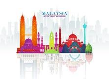 Fondo de papel global del viaje y del viaje de la señal de Malasia Modelo del diseño del vector utilizado para su anuncio, libro, stock de ilustración