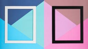 Fondo de papel multicolor abstracto del minimalismo de la textura Formas y líneas geométricas mínimas composición con el marco fotografía de archivo libre de regalías