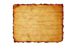 Fondo de papel quemado con música Fotos de archivo libres de regalías