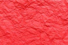 Fondo de papel rojo arrugado de la textura Fotografía de archivo