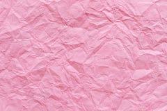 Fondo de papel rosado arrugado de la textura Fotografía de archivo