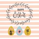 Fondo de Pascua con el marco y los huevos ilustración del vector