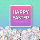 Fondo de Pascua con los huevos adornados 3d en verde con el marco cuadrado Bandera de pascua del vector o tarjeta de felicitación ilustración del vector