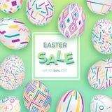 Fondo de Pascua con los huevos adornados 3d en verde con el marco cuadrado Bandera de pascua o tarjeta de felicitación linda stock de ilustración