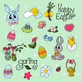 Fondo de Pascua con los huevos del garabato, conejos, pollo libre illustration