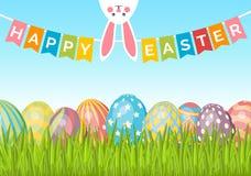 Fondo de Pascua con los huevos en hierba verde, conejito y banderas r stock de ilustración