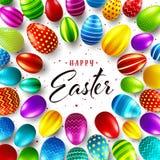 Fondo de Pascua con los huevos pintados realistas Caza del huevo de la primavera Tarjeta de felicitación feliz del día de fiesta  ilustración del vector