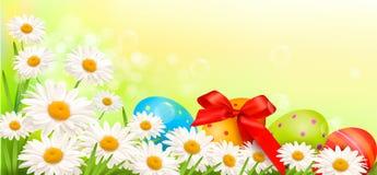 Fondo de Pascua con los huevos y las flores de Pascua Imagen de archivo
