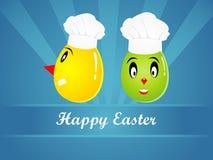 Fondo de Pascua con los huevos y los chikens Foto de archivo libre de regalías