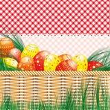 Fondo de Pascua con los huevos y los motivos de la comida campestre. ilustración del vector