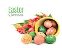 Fondo de Pascua con los huevos y los tulipanes pintados Foto de archivo libre de regalías