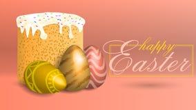 Fondo de Pascua con una torta enorme en un fondo coralino stock de ilustración