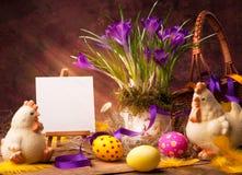 Fondo de Pascua del arte con la flor y los huevos de Pascua Foto de archivo