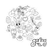 Fondo de Pascua, modelo del huevo Tarjeta de felicitación feliz de Pascua Ilustraciones del vector Página del libro de colorear p ilustración del vector