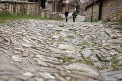 Fondo de piedra de la calle del adoquín Foto de archivo libre de regalías