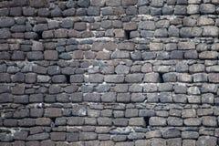 Fondo de piedra negro de la pared del castillo Fotografía de archivo