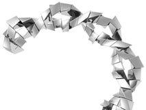 Fondo de plata abstracto de la dimensión de una variable del cubo del metal Fotos de archivo