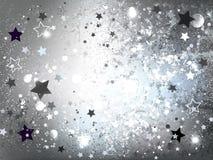 Fondo de plata con el fondo abstracto de las estrellas Fotos de archivo